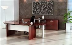 Napoli Sierra Cherry Wood Veneer Executive Furniture Set NT15 by Mayline #ExecutiveFurniture