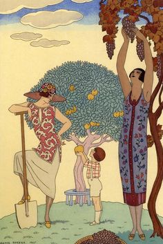 The Four Elements  La Terre / L'Eau / L'Air / Le Feu  By George Barbier  1925
