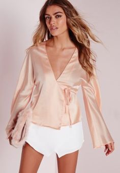 Tie Front Satin Blouse Nude