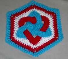 Celtic eternity knot intertwined with a heart... hex motif... crochet pattern found on Ravelry