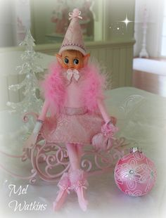 New Design :) Vintage pink elf - pink brocade skirt and hat, pink feather shawl and tiny purse! OOAK Mel Watkins My Creations Vintage pink knee hugger pink christmas <3 <3