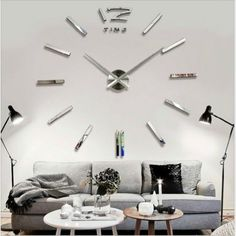 DIY Extra Large Wall Clock Luxury Mirror Wall Sticker Home Room Decoration Large Silver Wall Clock, Big Wall Clocks, Mirror Wall Clock, Large Clock, 3d Mirror, Large Art, Vinyl Diy, Oversized Clocks, 3d Home