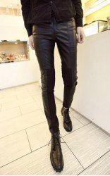 $22.26 Pantalones del Lápiz De Moda Cuero de Imitación Medio con Cierre Cuero de PU para Los Hombres