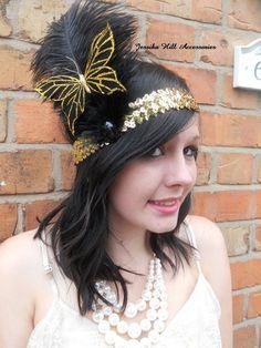flapper-headdress-sequin-headband-feathers-gold-black