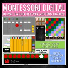 @montessoriglobal posted to Instagram: Montessori Digital Decimal Fraction Equipment and Presentations | PowerPoint (Also available in Google Slides) Montessori presentations and digital equipment to teach Montessori Upper Elementary Decimal Fraction lessons including the Montessori Decimal Checkerboard, Decimal Fraction Board, Fraction Circles and Centesimal Frame. #montessori #montessoriathome #montessorimaterials #montessoridigital #montessoridistancelearning #decimals #decimalfractions… Animated Teacher, Montessori Materials, Decimal, Upper Elementary, Fractions, Circles, Presentation, Student, Teaching