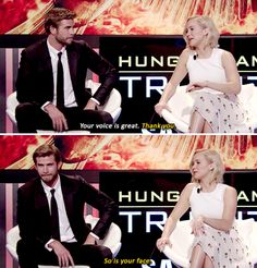 Liam and Jennifer giving each other compliments: | Jennifer Lawrence, Josh Hutcherson, And Liam Hemsworth Prove True Friendship Love Exists
