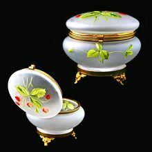 Vintage Satin enameled art glass Trinket Box or Powder Jar with Hinged Lid