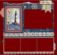 By The Sea Premade Scrapbook Page by SusansScrapbookShack on Etsy