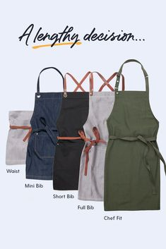 THE LONG & SHORT OF CARGO CREW APRONS ⭐️ We've designed our Cargo Crew Apron range to meet a range of workplace needs and aesthetics. Different styles, different sizes = a different look for every business, venue and maker. Apron Length | Apron Guide | The Modern Uniform | Cargo Crew Win Online, Online Work, Uniform Shop, Apron Designs, Long Shorts, Aprons, Different Styles, Workplace, Fashion Forward