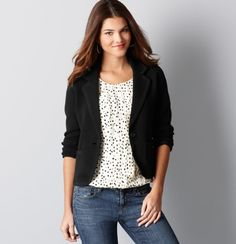 "$89.50  Online Exclusive  We love the how the tipped detail of this flirty, cropped style imparts a bit of tomboy-chic. Notch lapel. Long sleeves. Single button closure. Patch pockets. Tipped lapel, cuffs and hem. 21"" long."