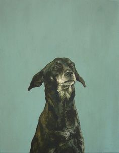 "Saatchi Online Artist: Iet Langeveld; Acrylic, 2011, Painting ""Doggy, 90x70cm"""