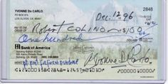 YVONNE De CARLO- SIGNED PERSONAL CHECK - LILLY MUNSTER