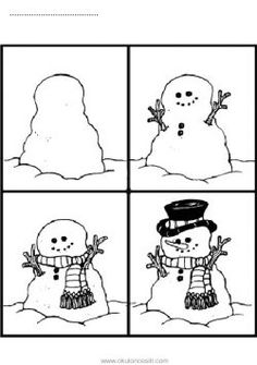 Students will cut out snowman sequence cards, paste into chronological order, and then color the cards. Sequencing Pictures, Sequencing Cards, Story Sequencing, Sequencing Activities, Free Stories, Stories For Kids, Preschool Art Lessons, Preschool Ideas, Sequence Of Events Worksheets
