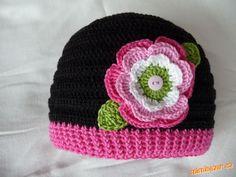 Krásná čepička s kytičkou, kytičku jsem dělala dceři na čepičku Crochet Baby Hats, Crochet For Kids, Knitted Hats, Knit Crochet, Cool Coloring Pages, Kids Hats, Children Hats, Ear Warmers, Girl With Hat