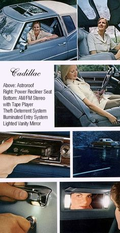 1976 Cadillac options shown: Astroroof, Power Recliner Seat, AM/FM Stereo with Tape Player, Illuminated Entry System and Lighted Vanity Mirror
