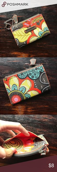 Vera Bradley BB Flower Shower Card Case Great little zip card case with key chain. One outside slip pocket. Zipper works perfectly. No visible wear. Open to offers Vera Bradley Bags Wallets