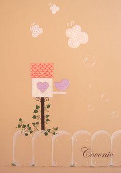 Detalle de mural infantil pintado a mano de Coconic para decorar la habitación de Marina.