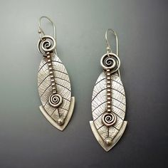Sterling Silver Dangle Earrings Abstract Leaf  by LizardsJewelry