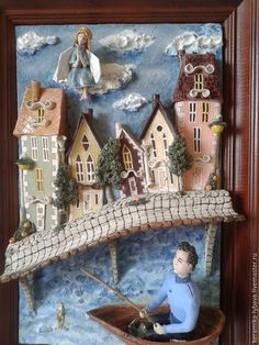 Clay Houses, 3d Painting, 3d Wall Art, Blue Brown, Polymer Clay, Shabby Chic, Diy Crafts, Ideas, Illustration