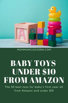 Check out these 50 best toys for baby's first year, all under $10 from Amazon. Everything from stuffed animals, rattles, balls, music toys, shapes, stacking toys, and more! Read more at mommamcgovern.com Best Amazon Gifts, Best Amazon Buys, Best Baby Toys, Best Baby Gifts, Toddler Age, Infant Toddler, Stacking Toys, Amazon Baby, Baby Necessities