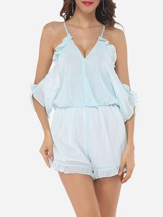 Hollow Out Plain Falbala Sexy Rompers