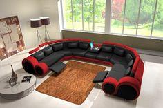 JVmoebel - Ledersofa Couch Sofa Ecksofa Modell Berlin IV U-Form