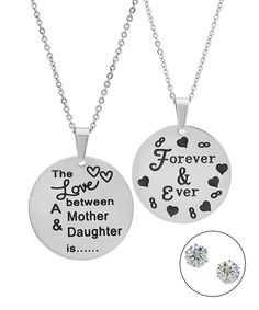 Another great find on #zulily! Stainless Steel 'Forever & Ever' Pendant Necklace Set #zulilyfinds