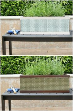 30 Gorgeous Mosaic Projects To Beautify Your Home And Garden Mosaic Tile Table, Mosaic Planters, Tile Tables, Mosaic Flower Pots, Mosaic Glass, Tile Crafts, Concrete Crafts, Mosaic Crafts, Mosaic Projects