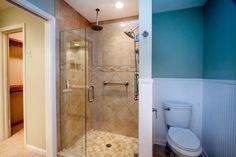 Traditional 3/4 Bathroom with Wainscoting, Legacy Series Sand Porcelain Tile, limestone tile floors, Limestone, Flush