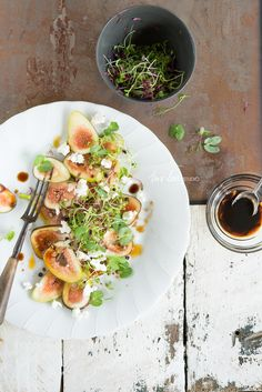 fig salad with marinated danish feta and sweet balsamic
