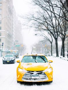 NYC Central Park In The Snow - I love how the yellow New York caB pops from the white snow in this photo!