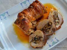 Muschi de porc umplut la cuptor – rulada cu ciuperci