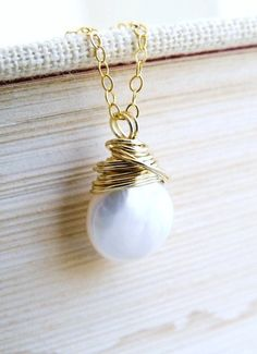 White Coin Pearl Gold Necklace Smooth Organic Baroque Briolette Pendant