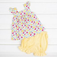 Adorable Amy top features lemons, watermelons and cherries print and coordinating yellow gingham bloomer. This summery outfit is perfect to wear all season long! Tops For Leggings, Quilted Jacket, Cherries, Knit Dress, Gingham, Spring Fashion, Amy, Girl Outfits, Spring Fever