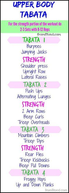 An awesome Upper Body Tabata! Burn some calories and tone up with this tabata workout An awesome Upper Body Tabata! Burn some calories and tone up with this tabata workout Tabata Workouts, Interval Training, At Home Workouts, Body Workouts, Tabata Fitness, Group Workouts, Killer Workouts, Training Schedule, Training Equipment