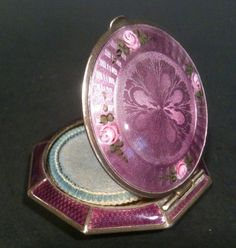Vintage 1930's Fmco Sterling Silver Purple Floral Enamel Compact w Mirror | eBay