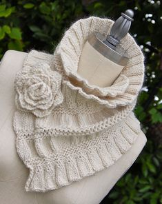 Ruffled and Ruched Scarf - Love the rose!