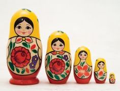 """Our 5 doll nesting set is bound to intrigue and fascinate as they discover each of the dolls hiding inside the big one! Each of the wooden lacquered and detailed painted figures nest together to form a delightful set.  Matryoshka Dolls size range is approximately 4"""" to 3/4"""". Made in Russia."""