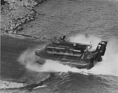 US Navy Patrol Air Cushion Vehicle (PACV) moves from water to land at the Cat Lo base, 1966.