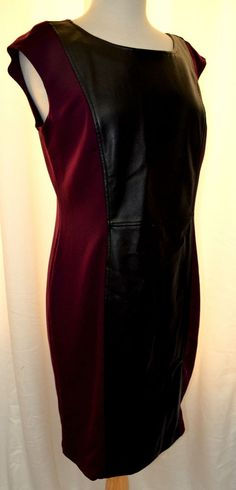 Spence Size 10 Scoop Neck Stretch Wiggle Dress Faux Leather Front Panel New #Spence #Sheath #WeartoWork