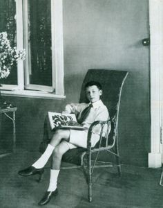 Young Vladimir Nabokov with a butterfly book, Vyra, 1907