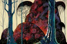 "Forest Jewel  ""Magic Realism""  Artist: Eyvind Earle   Completion Date: 1988  Place of Creation: United States"