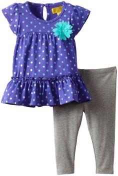 Nicole Miller Baby-girls Infant Dot Tunic with Glitter Legging 2 Piece Set