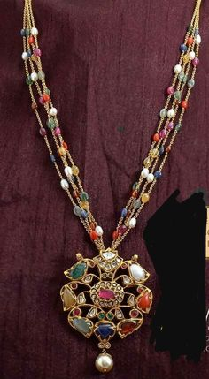 22 inches long navratna necklace in 22k solid gold part1