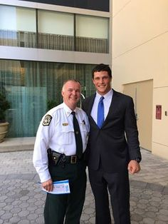 Sherff Carmichael with Panthers linebacker Luke Kuechly at The Westin Charlotte in Charlotte, NC