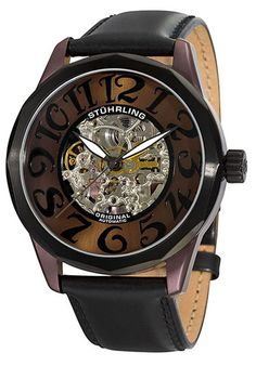 Price:$154.67 #watches Stuhrling Original 227A.332N559, Viola! A watch as unique as you! Features a skeleton automatic movement at the center of the dial surrounded by gold-tone Arabic numerals, and is completed by a black leather strap.
