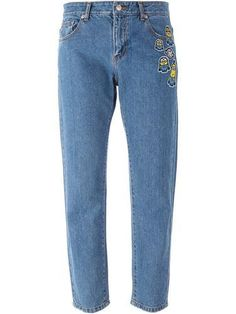 SJYP Minions patch cropped jeans #jeans #covetme #sjyp #Minions
