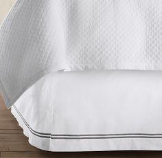 Italian Hotel Satin Stitch White Bed Skirt with silver sage stitching.