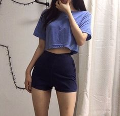 Something simple simple outfit summer outfit blue high waisted shorts crop top fashion inspo casual Korean Outfits, Trendy Outfits, Summer Outfits, Girl Outfits, K Fashion, Korean Fashion, Fashion Outfits, Fashion Tips, Fashion Killa