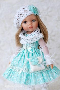 Outfit for doll Paola Reina Antonio Juan Cotton dress with lace Mint color Clothes and shose for Paola Reina dolls Set of clothes for doll
